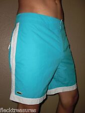 NWT! Mens Lacoste Swim Trunks Board Shorts Croc Logo Blue & White Choose Size