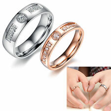 Charm Stainless Steel Full Austrian Crystal Couple Wedding Rings Engagement Band
