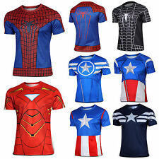 Superhero Costume T-Shirt Avengers Superman Spiderman Batman Captain America Top