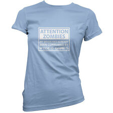 Attention Zombies Video Games - Womens / Ladies T-Shirt - Gaming - Zombie