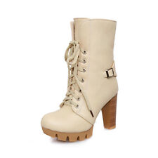 Womens Ladies Comfort High Heels Casual Lace Up Shoes Ankle Boots US ALL Size