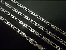 16inch to 30inch  2mm to 4mm Curb Figaro Silver Chain Necklace Men Choker Links