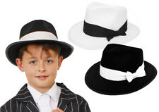 CHILD GANGSTER HAT BOYS 1920S FANCY DRESS COSTUME ACCESSORY MAFIA BLACK OR WHITE