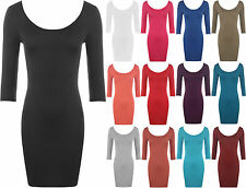 Bodycon Dress For Women Stretch Short Scoop Neck Low Back Long Top 4-10 New