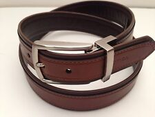 Nautica Men's Belt Reversible Brown Leather Silver Buckle Sz 32 34 36 38 40 42