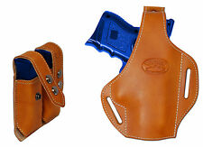 New Tan Leather Pancake Gun Holster + Dbl Mag Pouch Springfield Comp 9mm 40 45