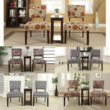 3 Pieces Occasional Accent Chair and Side Table Set Fabric Upholstered