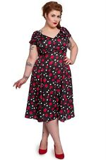 Hell Bunny Sheila Dress Vintage Retro Rockabilly 40's Pinup Black Apples Plus 3x