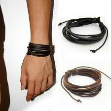 2PCS Fashion Multi-Layer Woven Leather Men Bracelet Wristband Bangle Jewelry