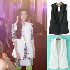 Ladies Casual Unisex Lapel Collar Sleeveless Jacket Waistcoat Blazer Suit Vest