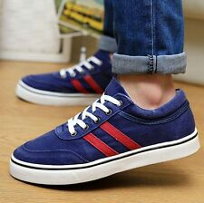 Mens Casual Vintage Canvas Athletic Sport Sneakers Lace Up Flat Low Shoes