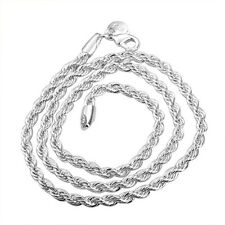 """Wholesale sale Christmas gift 4mm rope solid 925silver Necklace N207 16""""-24"""""""