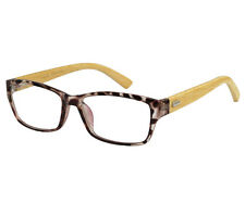 Ebe Mens Womens Reading Glasses Wayfarer In Brown Tortoise with Bamboo temples