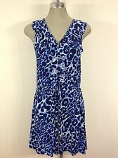 Calvin Klein NWT Blue multi  Animal print Dress w ruffles and exposed front zipp