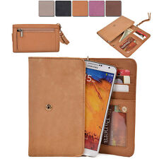 [XL2] Womens Genuine Leather Slim Smart-Phone Wallet Case Card Organizer Purse