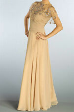 New Strapless Ruched Top Beaded Poncho Sequined Formal Gown Chiffon Dress Beige