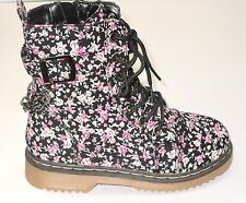 Girl Lace-up Boots Floral Print Combat Boots Military Boots (alyson04k) Youth