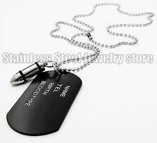 Army Style Black Dog Tags Chain Beauty Mens Pendant Necklace Bullet Pendant