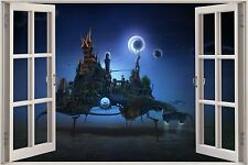 Huge 3D Window Fantasy Space Station View Wall Stickers Decal Wallpaper Mural