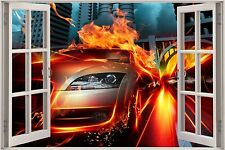 Huge 3D Window Fantasy Sports Car City View Wall Stickers Decal Wallpaper Mural