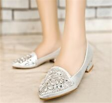 Womens Ladies Pointed Toe Slip On Diamante Sequins Shiny Pumps Loafers Shoes 336
