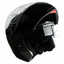 New DOT Gloss Black Modular Flip Up Dual Visor Sun Motorcycle Helmet sz S/M/L/XL