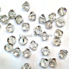 4mm Crystal Silver Shade Genuine Swarovski crystal 5328 / 5301 Bicone Beads