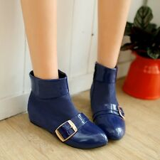 Trendy NEws Ladies Womens Patent Pointed Toe Hidden Wedge Buckle Ankle Boots