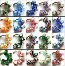 100pcs Wholesale Flowers Lampwork Murano Glass Beads Fit European Charm Bracelet
