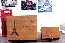 Retro Wood Eiffel Tower Home Decor Storage Container Box Case With Lock Two Size