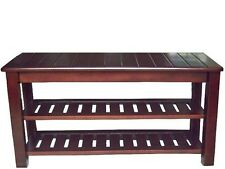 """All 100% Solid Wood Shoe Rack Bench 30"""", 34"""", Natural/Cherry/Espresso **NEW**"""