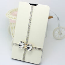 3D Diamonds cross bowknot PU leather slot wallet flip case skin cover for Sony