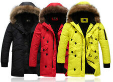 New Men's Fashion Jacket Hoodie Warm Fur Winter Med Long Parka Fur Collar Coat
