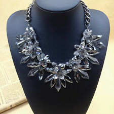 Occident Style Crystal transparent clear delicate extravagant flowers necklace
