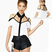 Women White Ol Lapel Chiffon Tops T Shirt Sexy Backless Cut Out Hollow Blouse BN