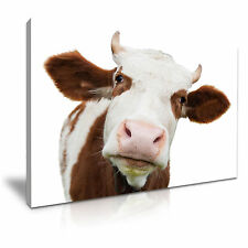 COW CATTLE Portrait Animal Canvas Framed Print Wall Art - More Size