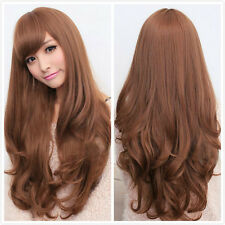 Womens Long Brown Curly Wavy Full Wigs Party Hair Cosplay Lolita Fashion Wig