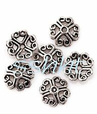 Flower Shaped Tibetan Silver 50Pcs Bead Caps Finding for Making Jewelry 8mm