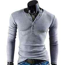 New Style Men's T-shirt Fashion Casual Close-fitting V Neck Long Sleeve Cotton