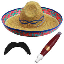 48 X MEXICAN SOMBRERO STRAW HAT MOUSTACHE CIGAR WESTERN BANDIT FANCY DRESS PARTY