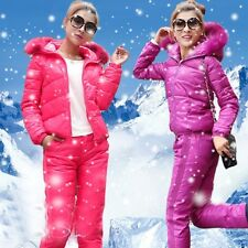 Womens Stylish Winter Warm Slim Hooded Light Vest Down Coat Pants Suit Snug Hot