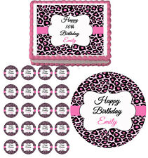 PINK CHEETAH LEOPARD Edible Birthday Party Cake Topper Cupcake Image Decoration