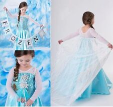 2015 Party Girl's Frozen Princess Anna Elsa Cosplay Costume Kid's Dress SZ2-8Y