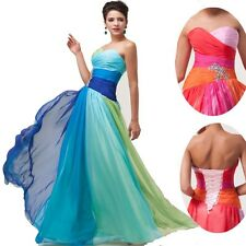 HOT   Masquerade Wedding Ball Gown Evening Prom Party MAXI Pageant Chiffon Dress