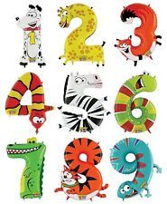 "40"" Zooloons Mighty Bright Animal Image Number Balloons Happy Birthday Child Age"