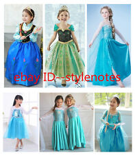 Kids Girls Dresses Disney Elsa Frozen Costume Princess Anna Party Dresses 3-8Y