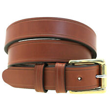 "Men's 1 1/4"" Medium Brown English Bridle Leather Belt Saddle Groove Nickel-Free"