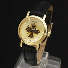 New Luxury Classic Women Self-winding Auto Mechanical Leather Golden Case Watch