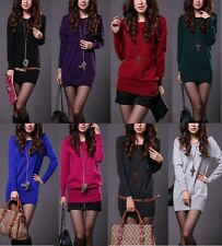 Womens Loose Round Neck Knitted Pullover Jumper Long Sweater Knitwear 8 Colors