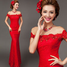 Women's Off Shoulder Lace Long Evening Prom Mermaid Wedding Dress Ball Gown MY28